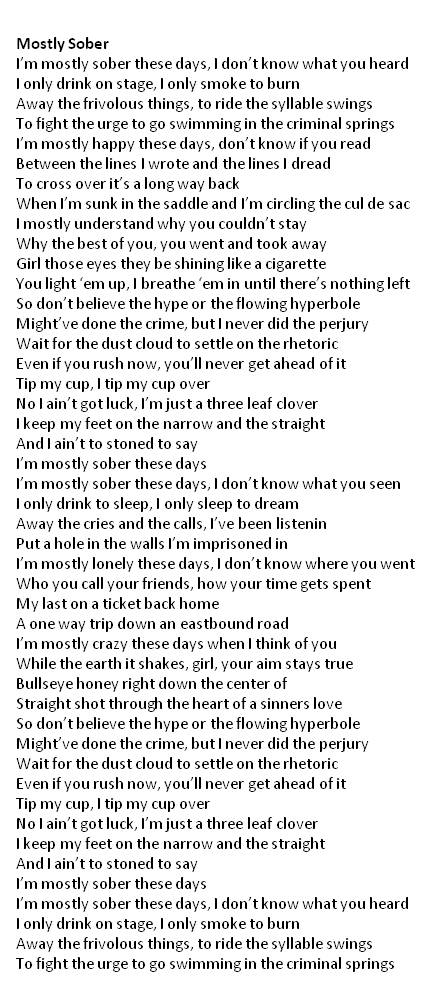Mostly Sober lyrics | Home In Maine
