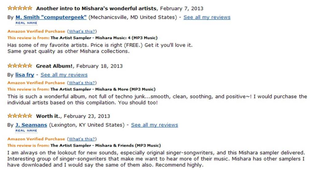Amazon Samplers New Reviews February 2013