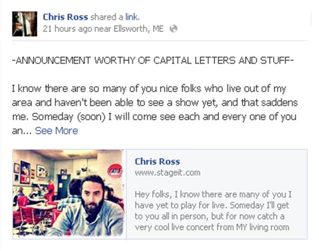 Chris Ross FB Stageit