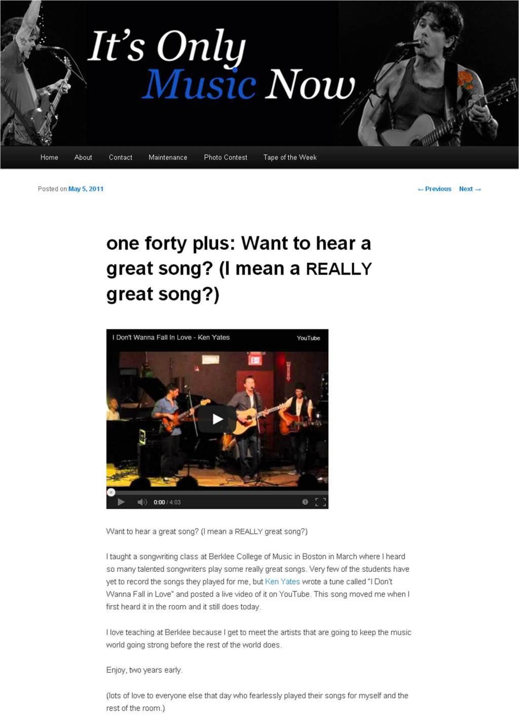 Ken Yates - John Mayer 05-05-2013