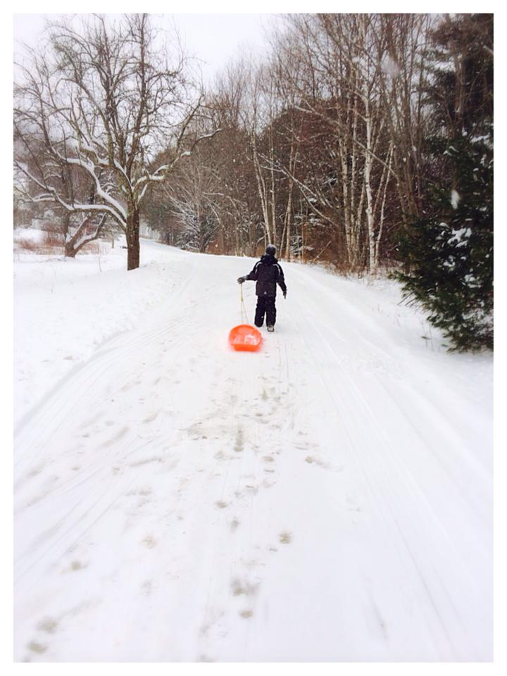 Sledding Before The Plow - 02-05-2014