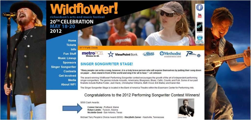 Connor Garvey Wildflower Winner 2012