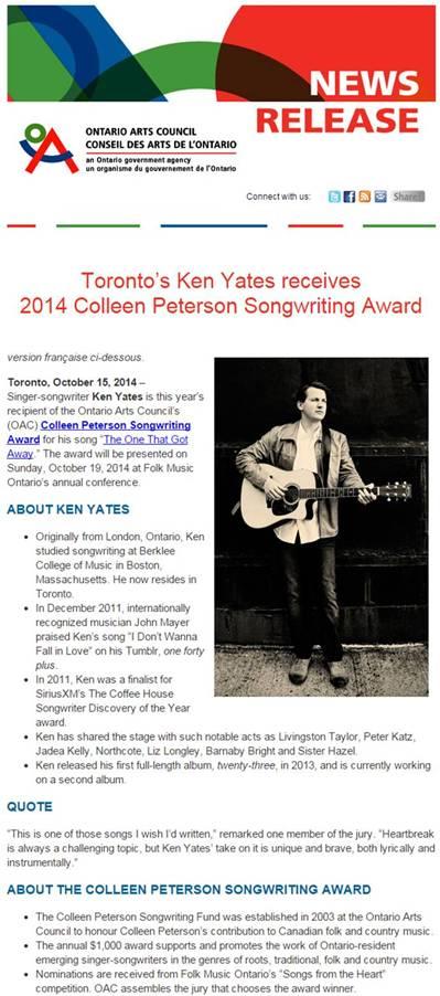 Ken Yates Ontario Award - Letter Size